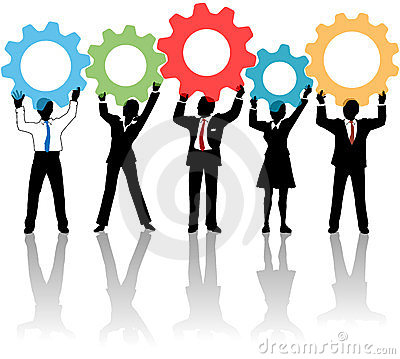 People team up technology solution gears