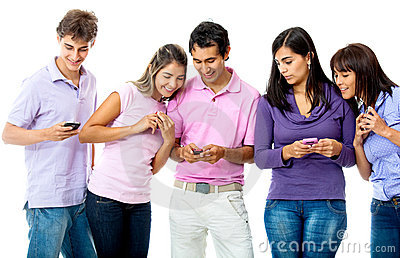 People texting on their phone