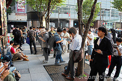 People and their gadgets, Japan Editorial Image