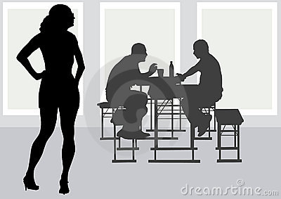 People to table in cafe
