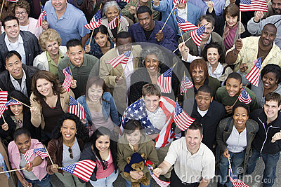 People Together Raising American Flag