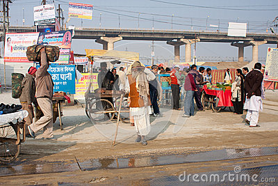 People traffic during the Kumbh Mela festival Editorial Image