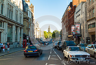 People and traffic at Whitehall in London Editorial Stock Photo