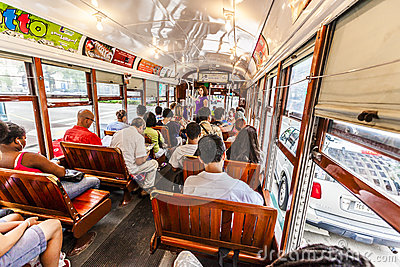 People travel with the famous old streetcar Editorial Stock Image