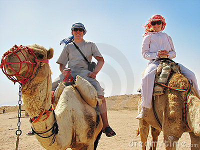 People traveling on camels in egypt