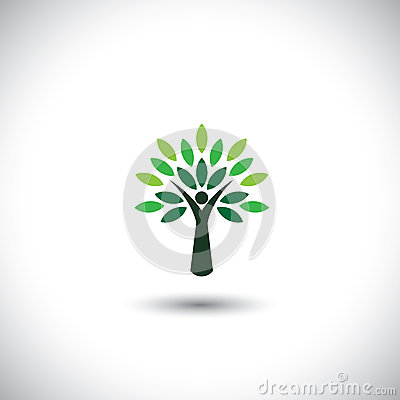 People tree icon with green leaves