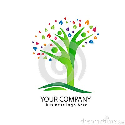 People tree logo design with colorful leaves family tree Stock Photo