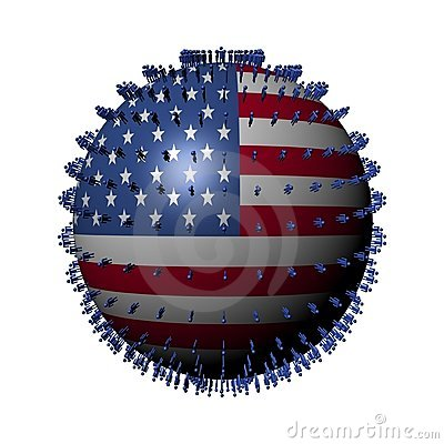 People on USA flag sphere