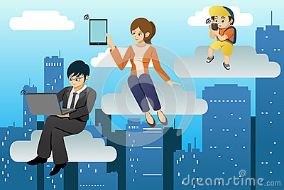 People using different mobile device in clouds computing environ