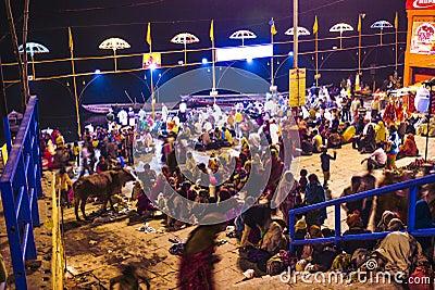 People in Varanasi in religious washing ceremony Editorial Image