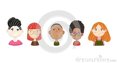 People vector avatars collection. Interesting cartoon faces. Vector Illustration