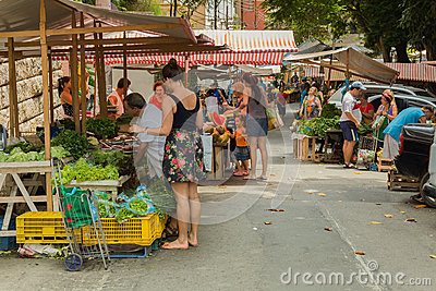 People at vegetable and fruits street market Editorial Photo