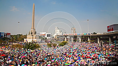 People at Victory monument to expel Yingluck Editorial Stock Photo