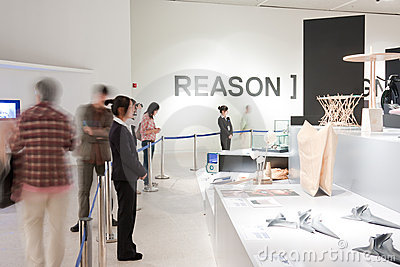 People visit the exhibition Editorial Stock Photo