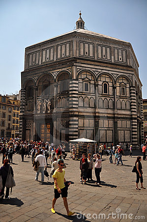People Visiting the Baptistry Florence, Italy Editorial Stock Image