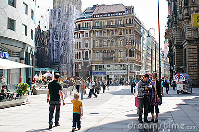 People visiting landmarks in Vienna Editorial Stock Photo