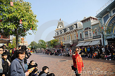 People wait Disney parade Editorial Image