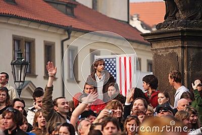 People waiting for Barack Obama Editorial Photo