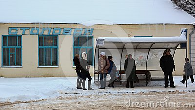 People waiting for a bus. Gagarin. Russia. Editorial Photo