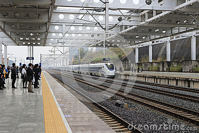 People waiting for the high speed train