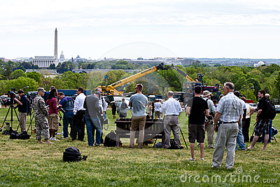 People waiting for Space Shuttle Discovery Editorial Photography