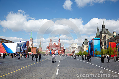 People walk on Red Square after parade Editorial Photography
