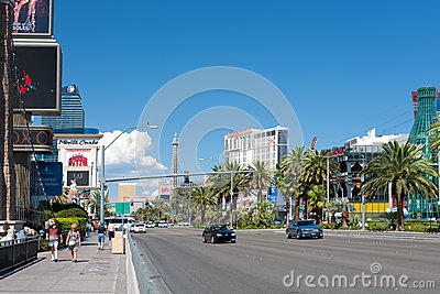 People walking along The Las Vegas Strip Editorial Photography