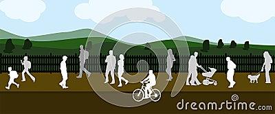 People walking in the background field
