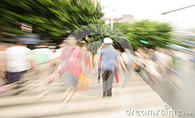 People walking on big city street