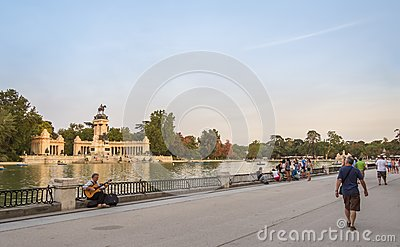 People walking in Buen Retiro park lake, Madrid Editorial Photo