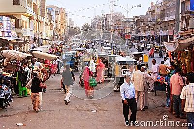 People walking on busy street at Sadar Market, Jodhpur, India