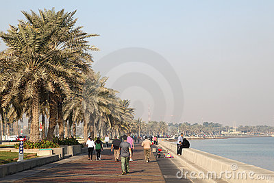 People walking on corniche, Doha Editorial Photography