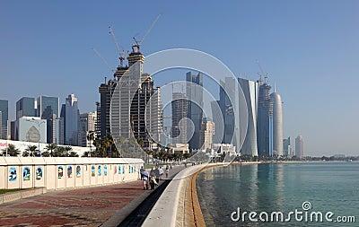 People walking on corniche, Doha Editorial Photo