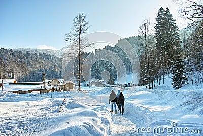 people walking through deep snow stock photo image 57698931