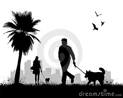 People walking dogs