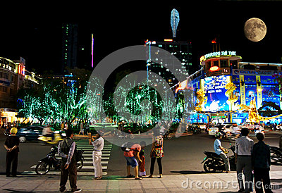 People are walking at night in Ho Chi Minh City Editorial Photography