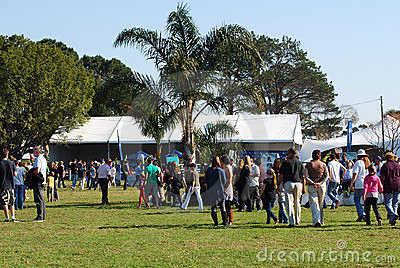 People walking show jumping course Editorial Stock Photo