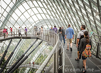 People on walkway in Cloud Forest, Singapore Editorial Stock Image
