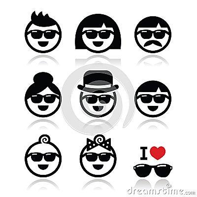 People wearing sunglasses, holidays icons set