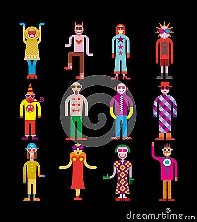 People wearing sunglasses - vector illustration