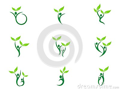 People wellness logo health care fitness eco friendly green couple agriculture success vector symbol icon design. Vector Illustration