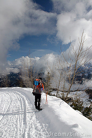 People winter backpacking