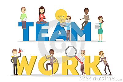 People work together in team. Strategy and business Vector Illustration