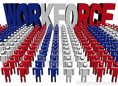 People with workforce French flag