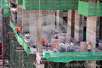 People working on Construction Site at Bangkok Thailand Editorial Stock Photo