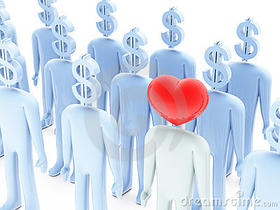 Peoples with dollar-shaped and heart-shaped heads