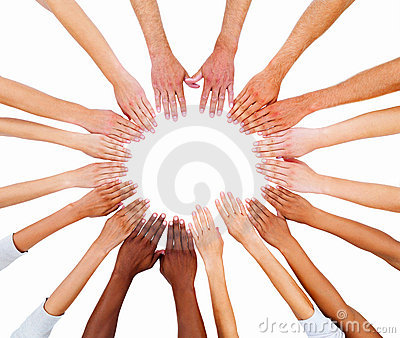 Peoples hands in a circle