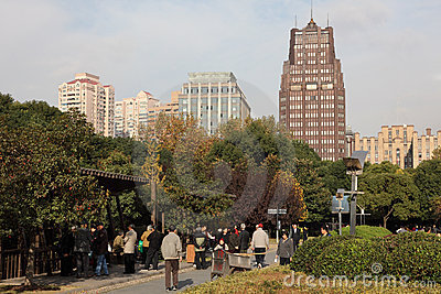Peoples Square Park in Shanghai Editorial Stock Photo