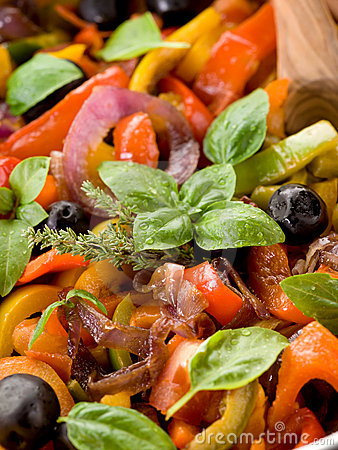 Peperonata with basil and olives