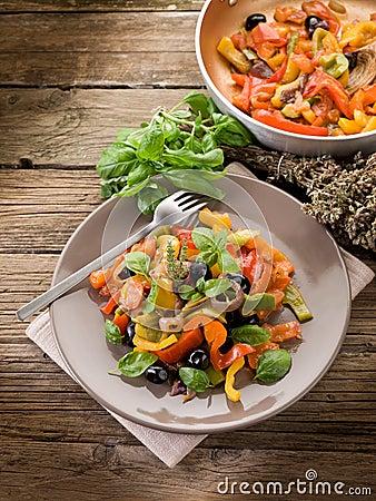 Peperonata with basil and olives